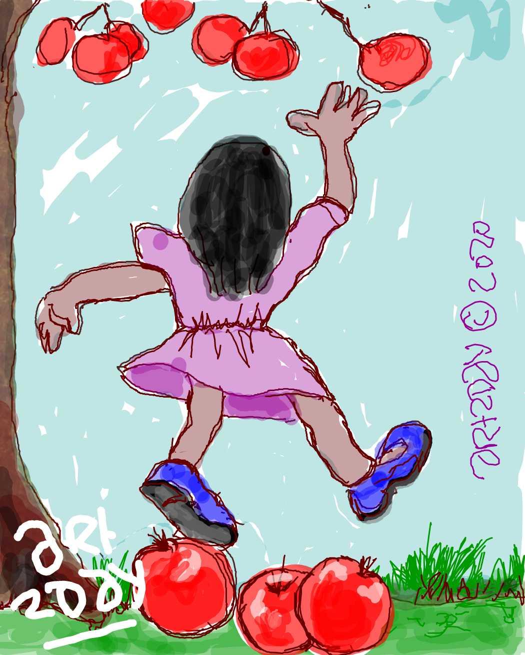 girl, fruits