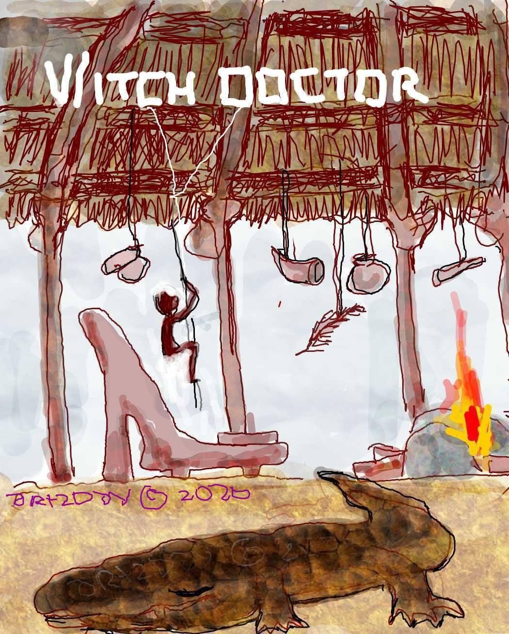 witch doctor, shrine, crocodile